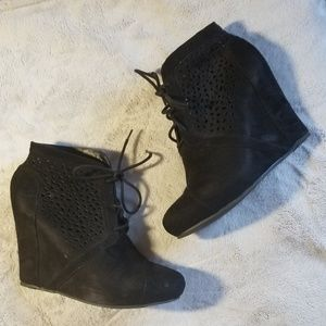 Shoes - Black cut out booties , size 11